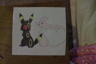 Umbreon and Espeon by sandclaw599