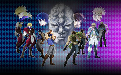 JOJO part 1 and part 2 wall by ShadowxSiegfried