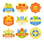 9-color-summer-holiday-labels-vector-material