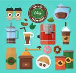 16-color-coffee-shop-element-vector-material