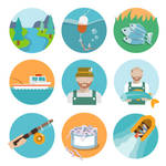9-fishing-elements-icon-vector-material