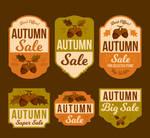 6 Vintage Acorns Autumn Sale Labels Vector