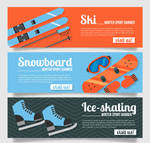 3 Creative Winter Sports Banner Vector Material