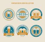 6 Retro Beers labels vector