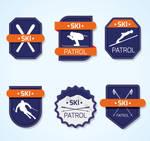 6 Blue Skiing Label Vector Materials