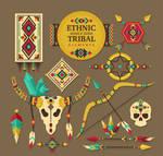 12 Color Tribal Elements Labels Vector