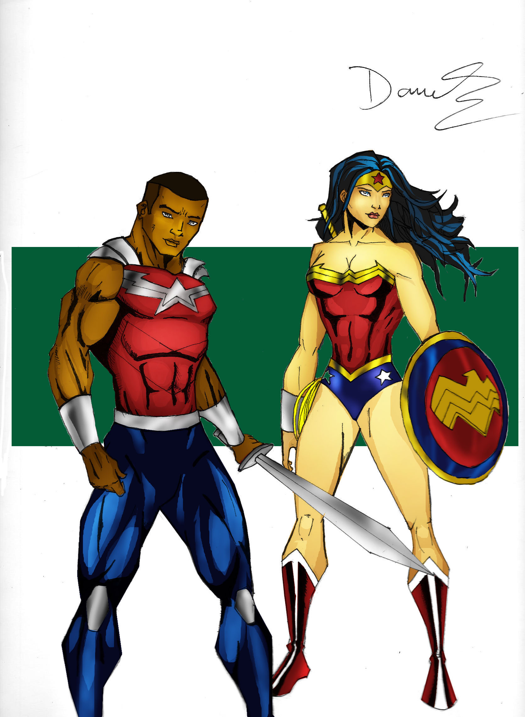 Wonder Boy And Wonder Woman YJ Art By RJDJ Productions On