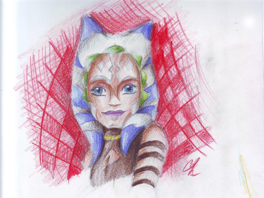 Ahsoka Tano Aquarelle colored pencils. by Chyche