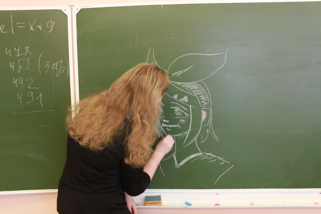I draw Rin on blackboard by Chyche