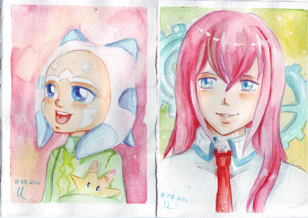 Ahsoka Tano. Kurisu Makise. Watercolor by Chyche