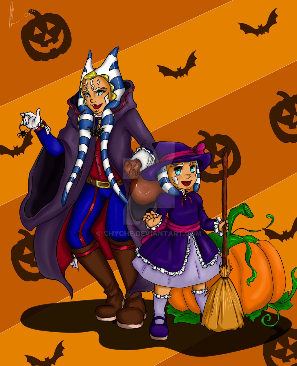Happy Halloween - Ahsoka Tano with her daughter. by Chyche