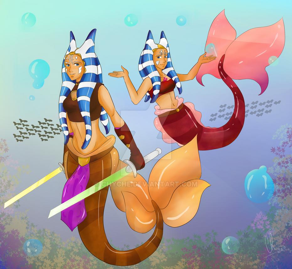 Ahsoka and Erdeni Tano Mermaid by Chyche