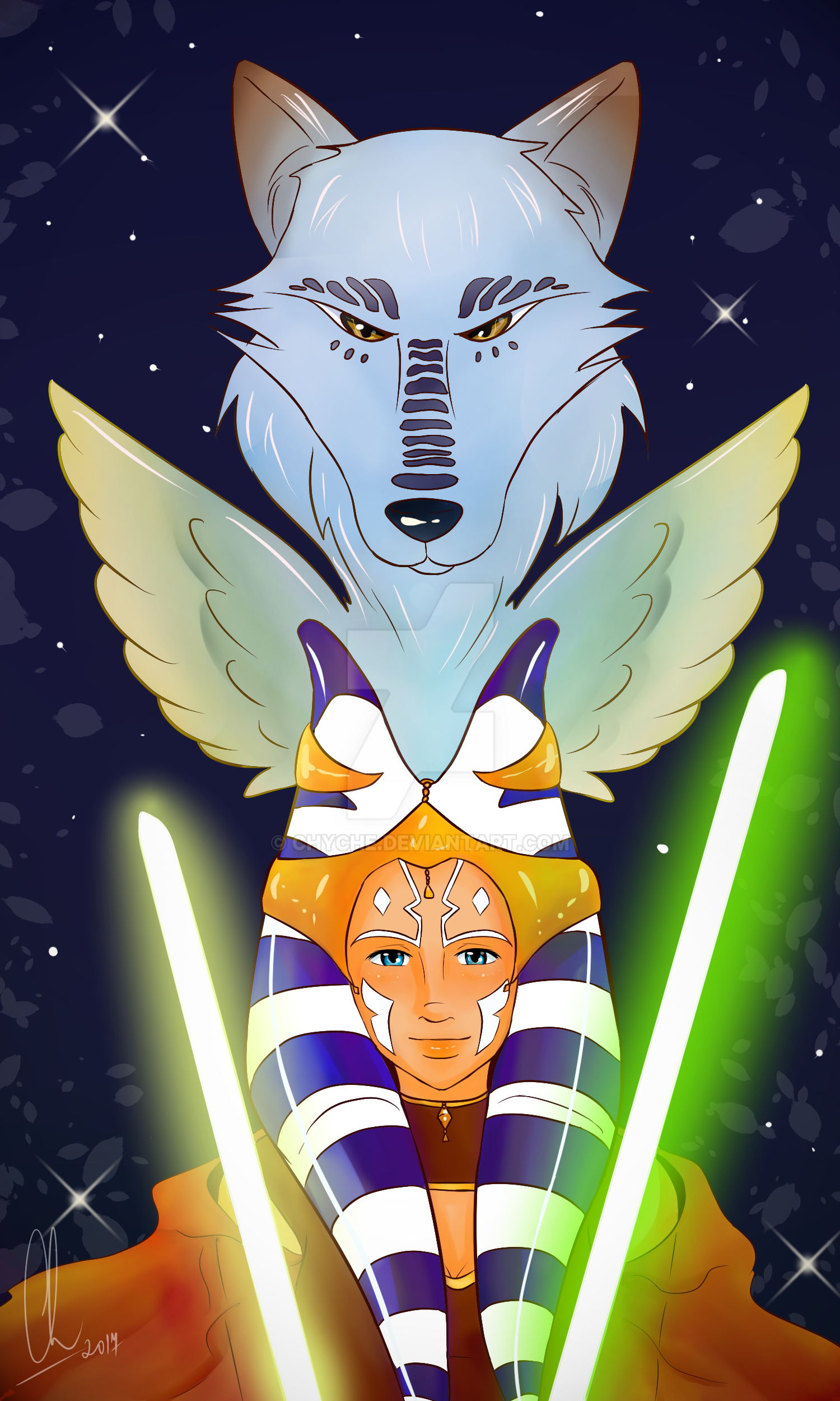 Ahsoka Tano and Wolf by Chyche