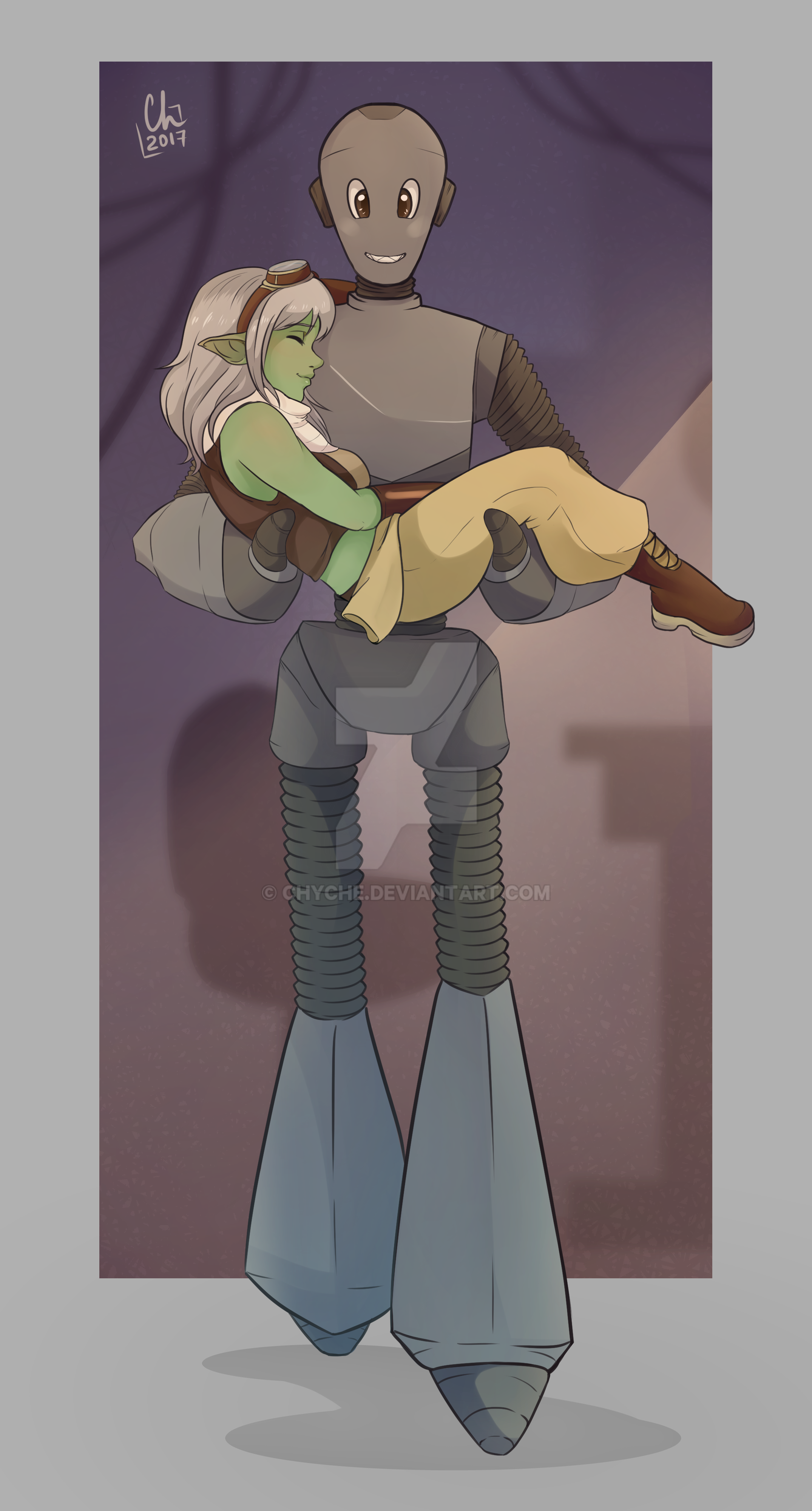 [Goodnight]-Goblin Girl and her Robot by Chyche