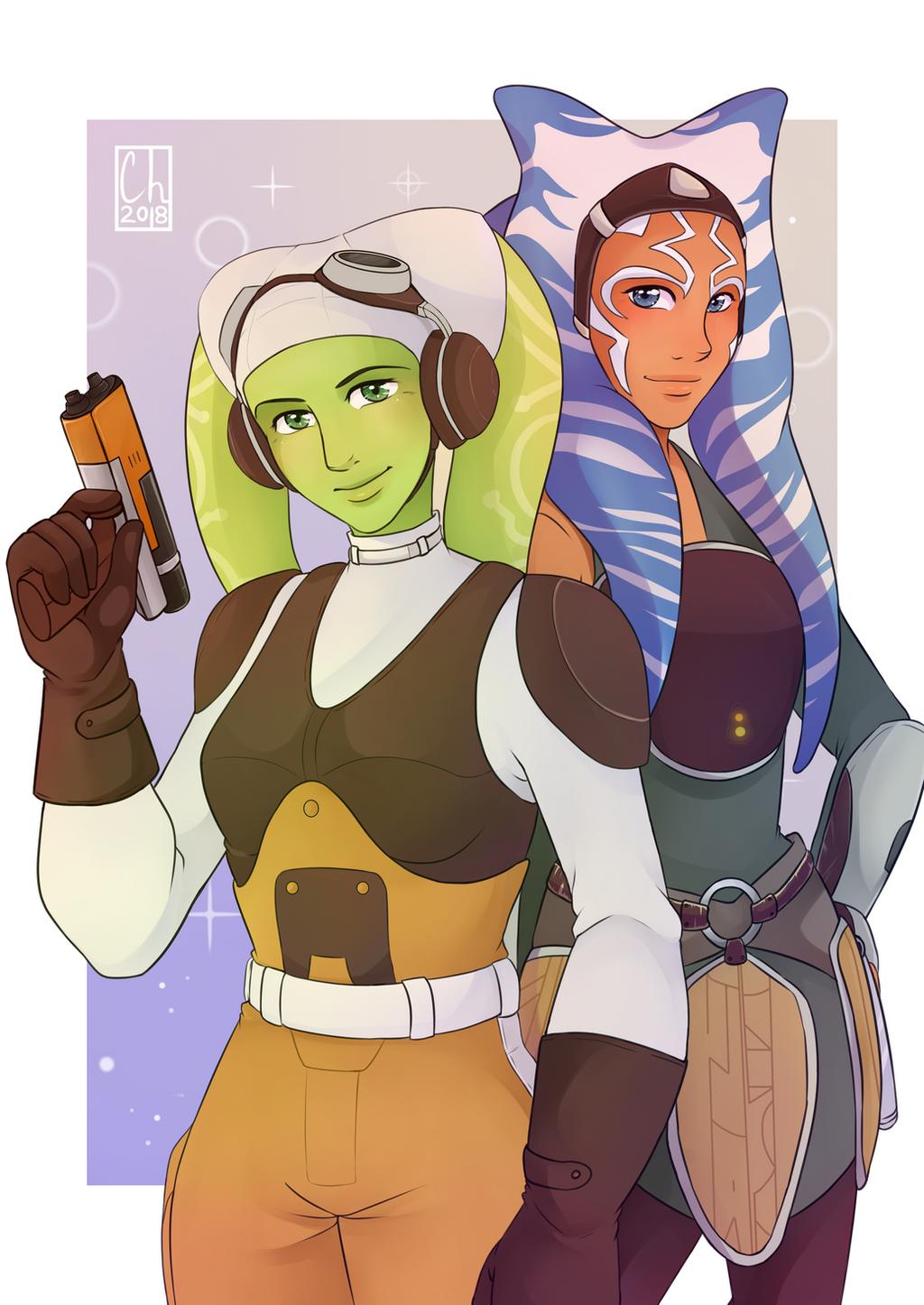 [SW Postcard] - Hera Syndulla and Ahsoka Tano by Chyche