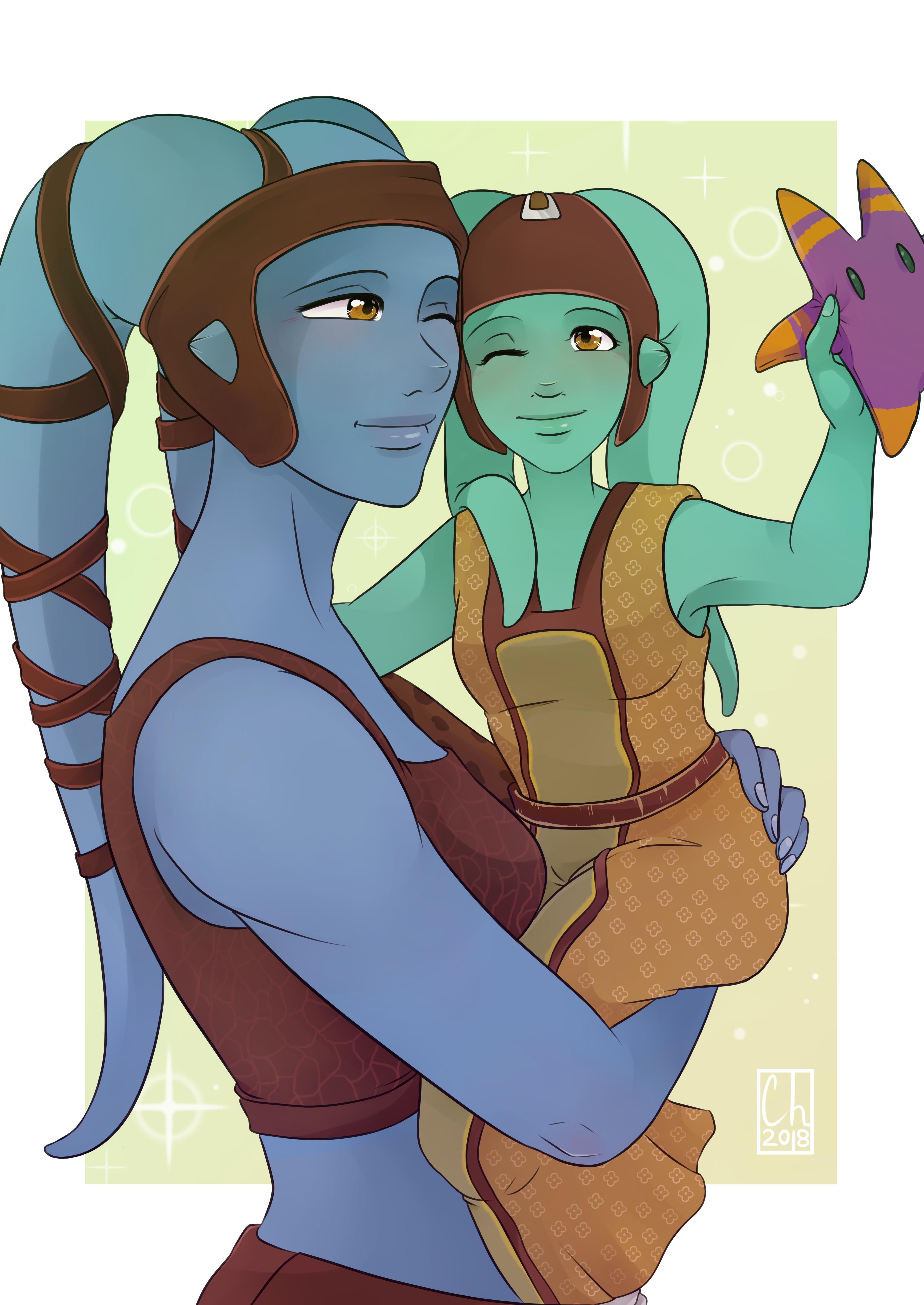 [SW Postcard] - Numa and Aayla Secura by Chyche