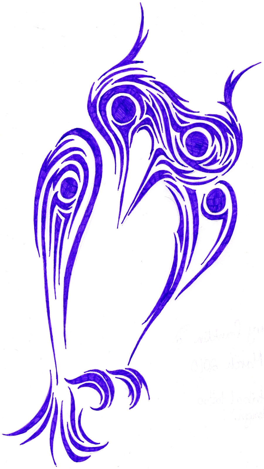 Owl Tribal Tattoo Design by