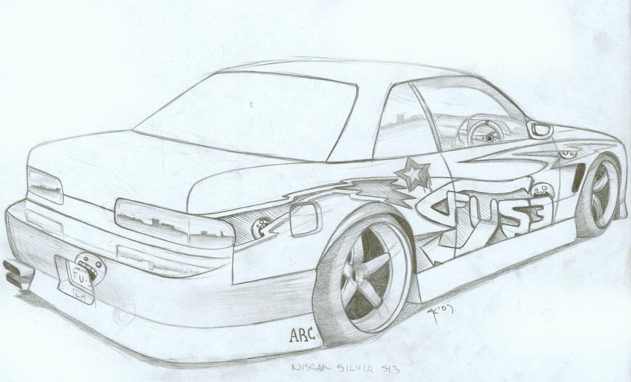 Машина в дрифте рисунок карандашом