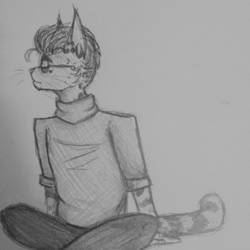 Serval Cat in a Turtleneck by Negative-Cation