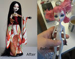Yurei, Monster high custom - before and after