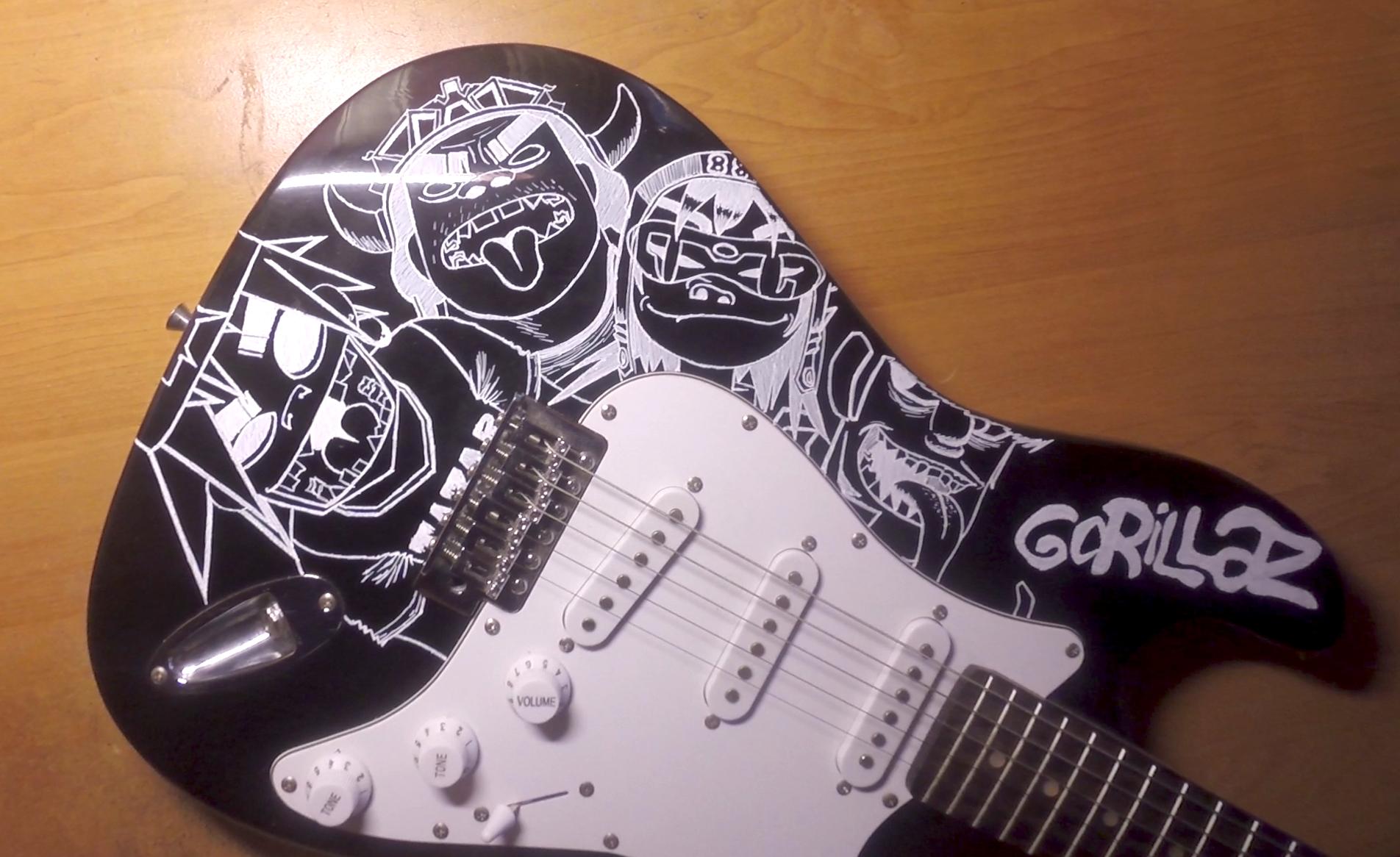 Making Gorillaz guitar. Work in progress 2 by NiechPlonie