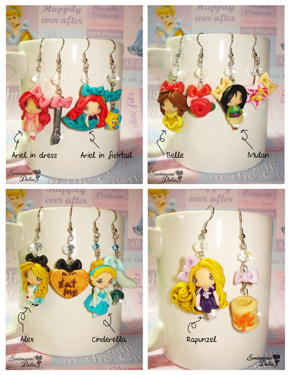 Disney Princess Earrings Collections by SentimentalDolliez