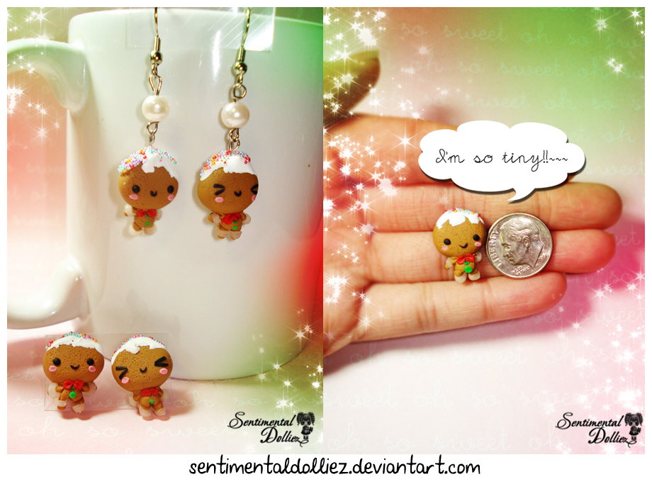Kawaii Gingerbreadman Earrings Set by SentimentalDolliez