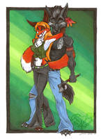 EmeraldVixen and her Man by StangWolf
