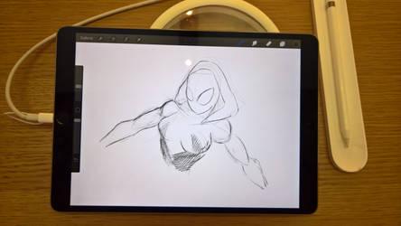 sketch spider gwen by maffo1989