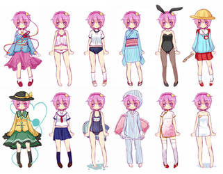 Satori in Various Clothes. by Youmu-no-Danzai