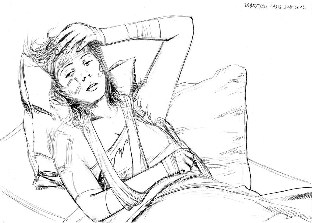 Ryoko in bed sketch by LaYoosh