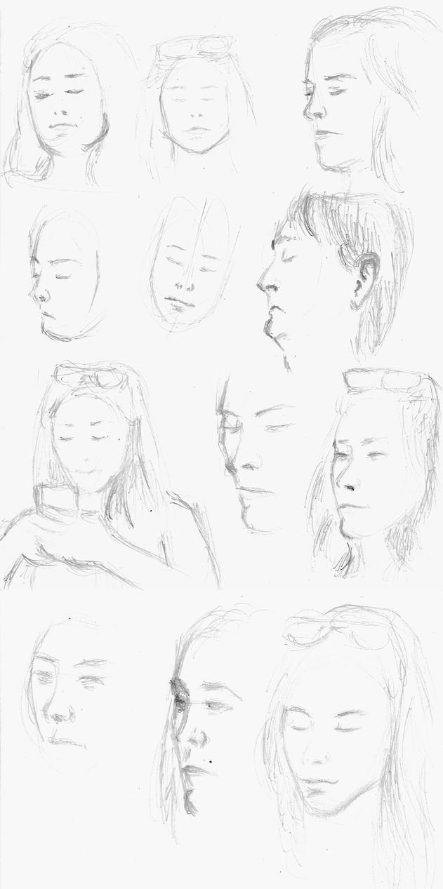 Pencil sketches on the train by LaYoosh