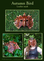 Autumn Bird - Leather Mask by windfalcon