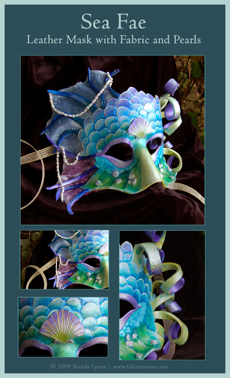Sea Fae - Leather Mask by windfalcon