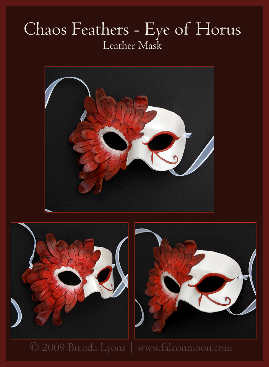 Chaos Feathers 2- Leather Mask by windfalcon
