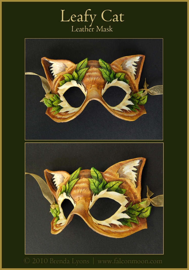 Leafy Cat - Leather Mask by windfalcon