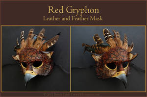 Red Gryphon - Leather Mask by windfalcon