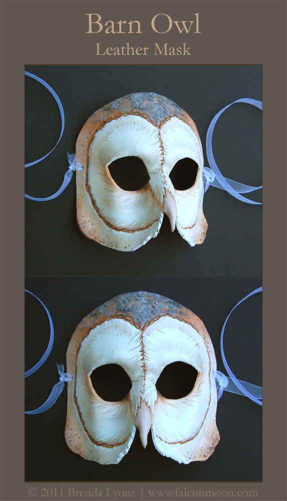 Barn Owl - Leather Mask by windfalcon