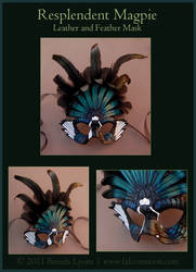 Resplendent Magpie - Leather Mask by windfalcon