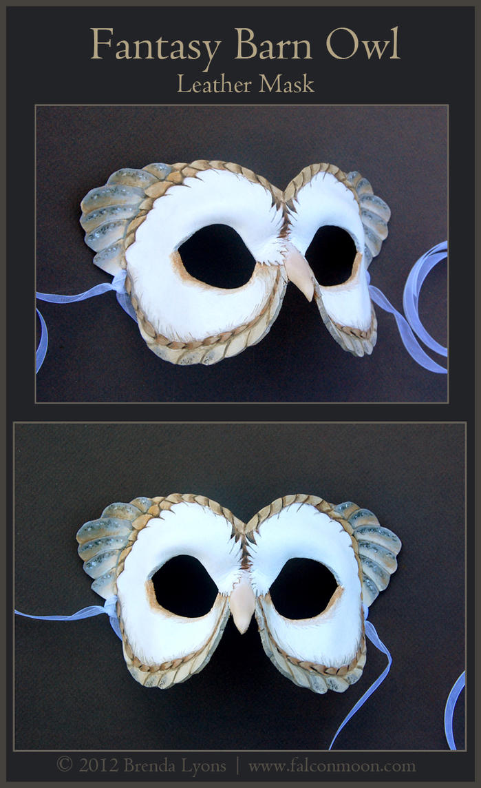 Fantasy Barn Owl - Leather Mask by windfalcon