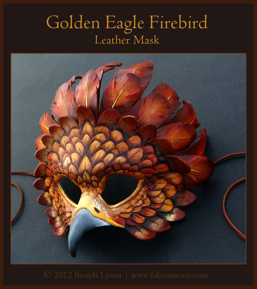 Golden Eagle Firebird - Leather Mask by windfalcon