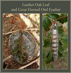 Leather Oak Leaf and Owl Feather