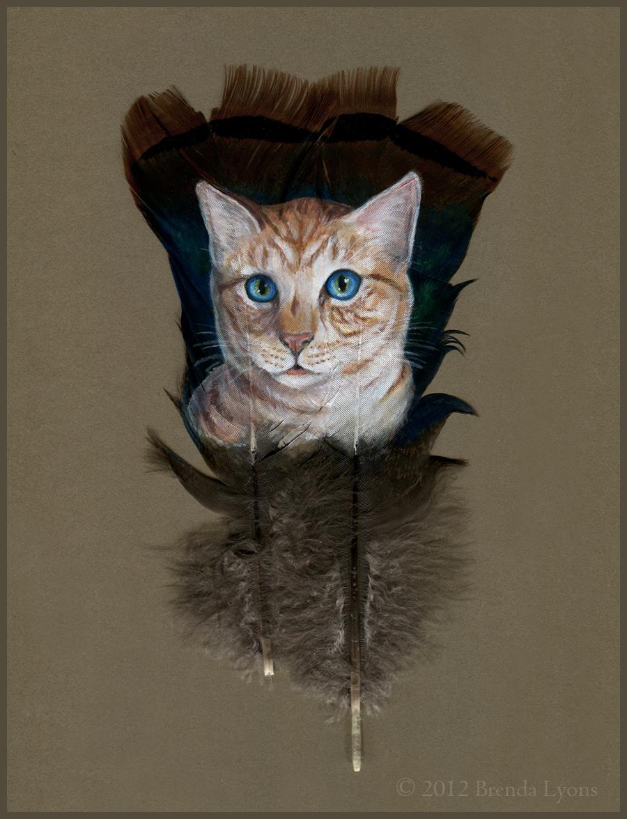 Orange Kitty - Painted Feather