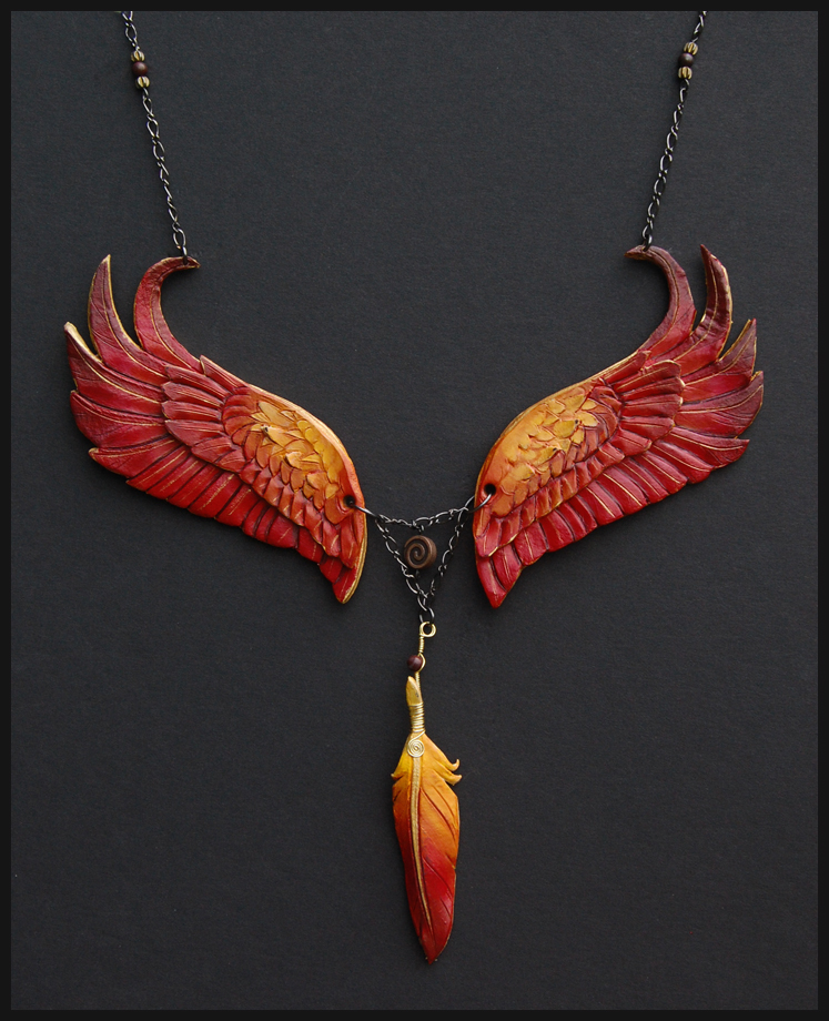 Eternal Phoenix Leather Necklace by windfalcon