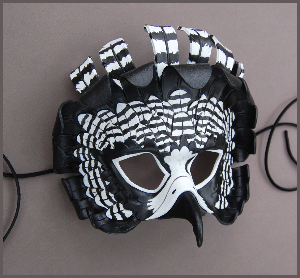 Black and White Raptor - Leather Mask by windfalcon