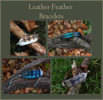 Leather Feather Bracelets by windfalcon