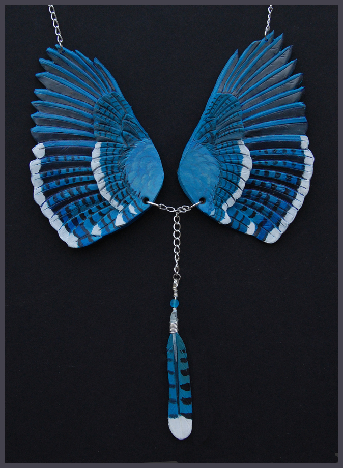 Blue Jay Wings - Leather Pendant by windfalcon
