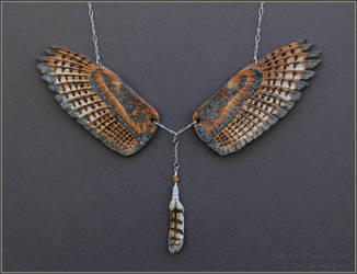 Barn Owl Wings - Leather Pendant by windfalcon