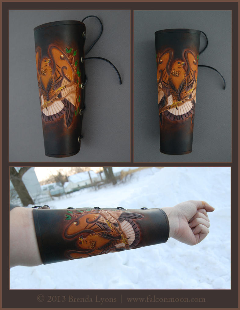 Golden Eagle Leather Archery Arm Guard by windfalcon