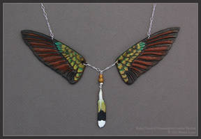 Ruby-Throated Hummingbird Wings -  Leather Pendant